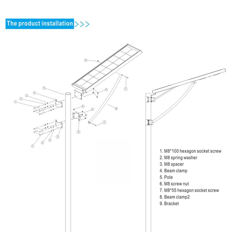 Solar Power All in One LED Street Light 30W