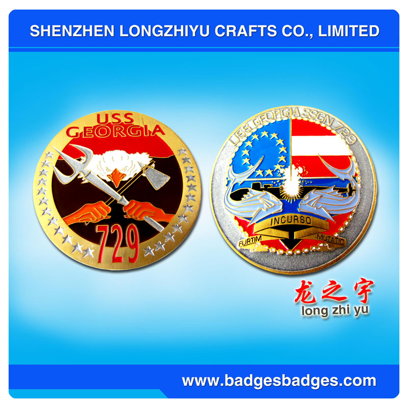 Custom Challenge Metal Coin with 4-6 Colors