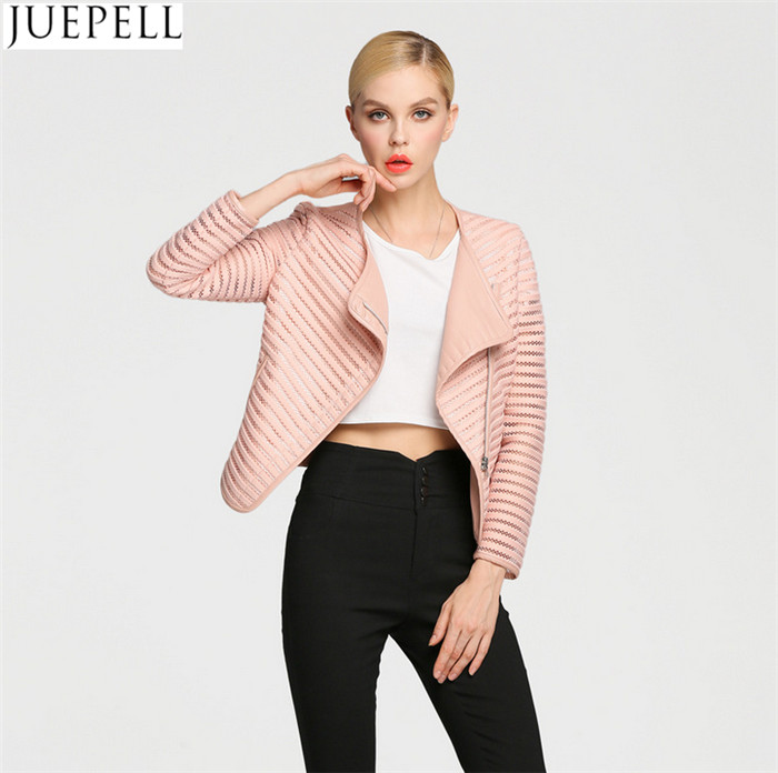 Spring Wild Hollow Short Paragraph PU Leather Jacket European and American Jacket Women Thin Section Jacket Facotry Wholesale Price