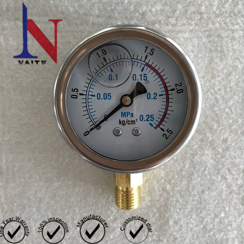 0.25MPa Dial Type Glycerin Filled Pressure Gauge for Hydraulic Pump
