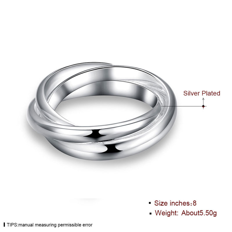 Simple Three Circle Ring Silver Plated Ring Jewelry