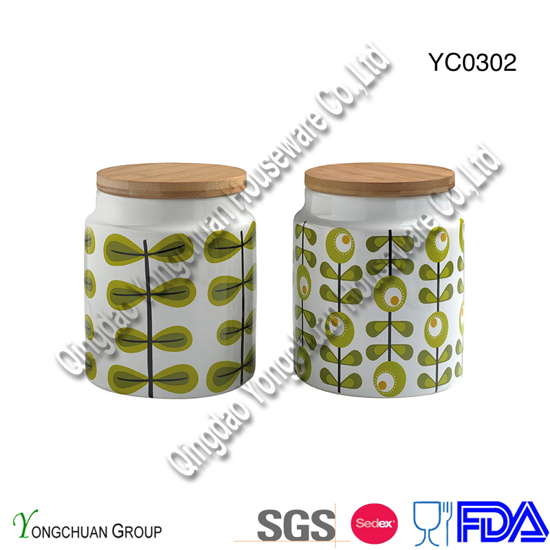 Ceramic Canister with Colorful Lid and Blackboard
