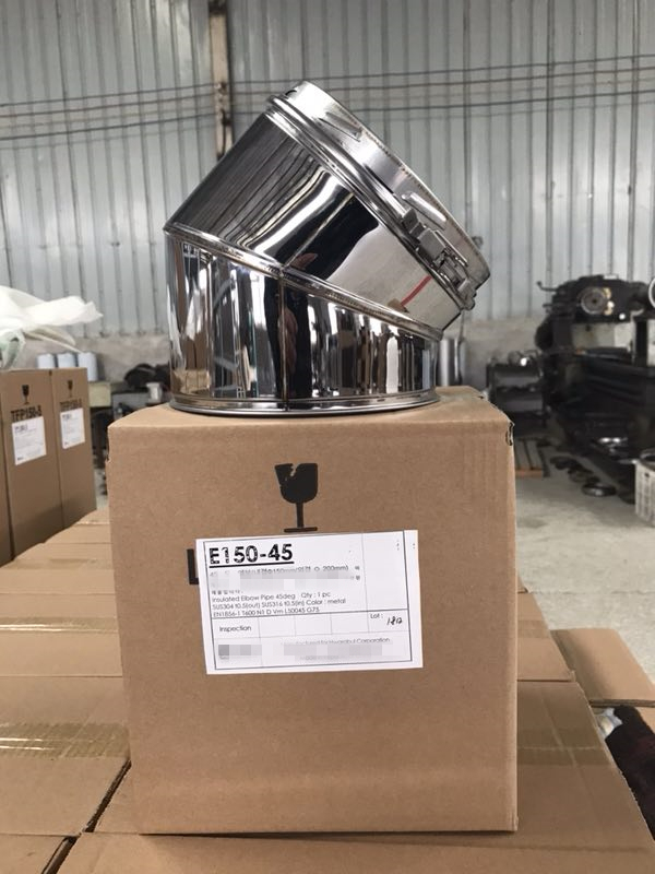 6'' (150mm) Double Wall Stainless Steel Insulated Chimney 45degree Elbow