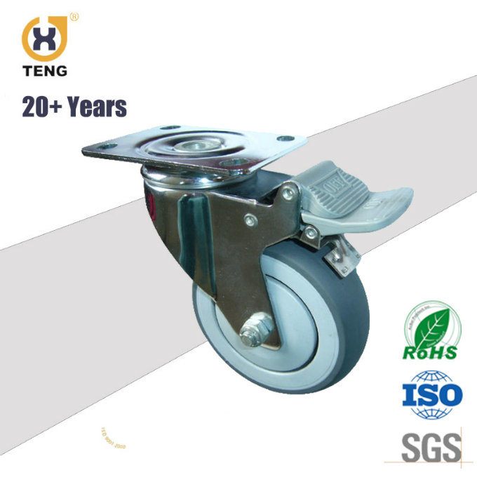 Polyurethane Brake Caster with Top Plate