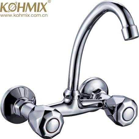 China Factory New Design Double Handle Wall Sink Faucet