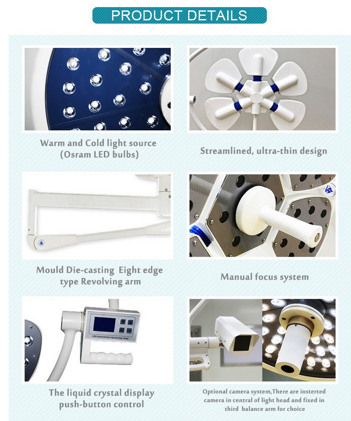 Single Head Medical Ceiling Shadowless Operating Lamps LED Surgical Lights for Sale