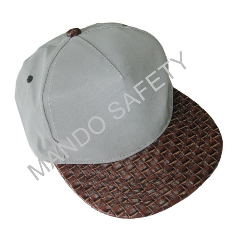 Grey Reflective Material Snapback Cap with