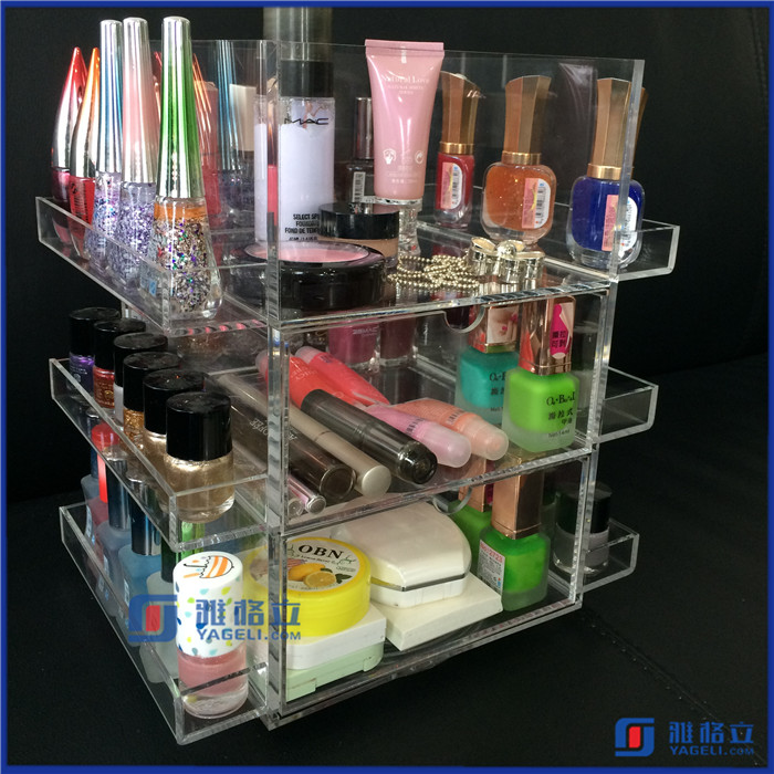 Clear Acrylic Jewelry Box and Makeup Organizer Set