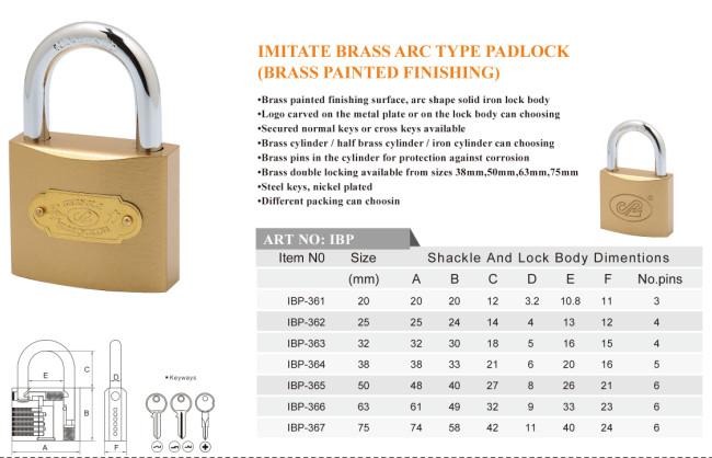 Imitate Brass Arc Type Padlock (brass painted finishing)