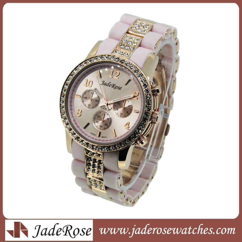 Exquisite Diamond Watches Wwomen's Alloy Watch with Silicone Strap