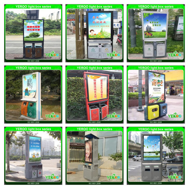 Floor Standing Street Solar Power Advertising Lamppole Light Box