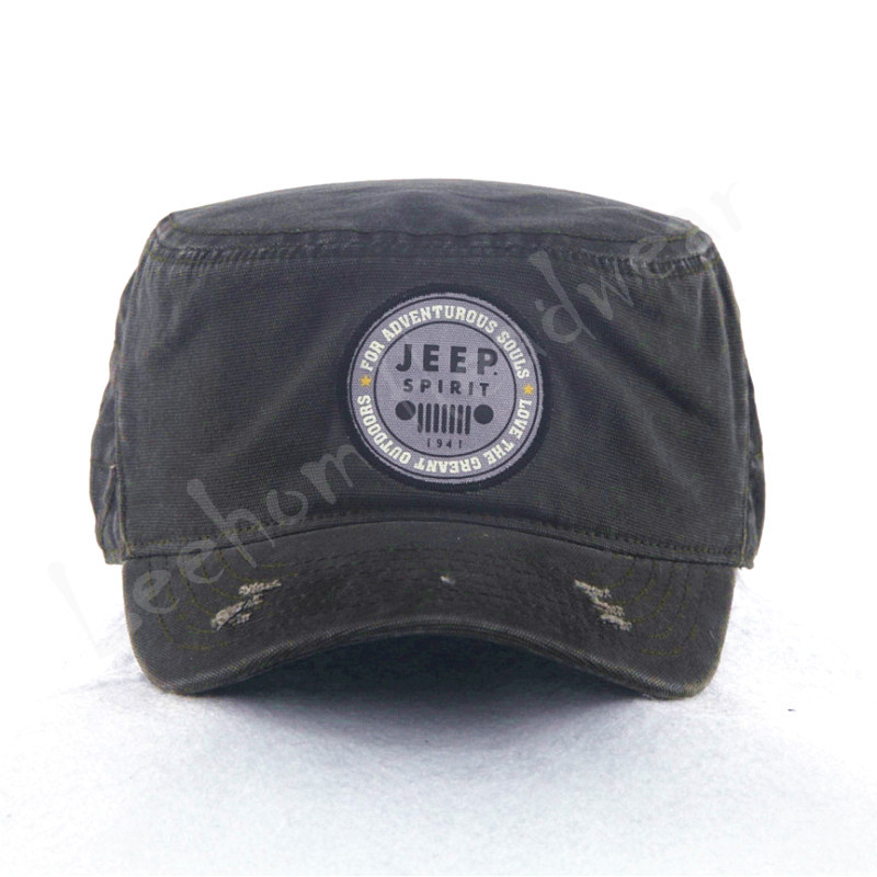 Canvas Military Caps with Embroidery Patch