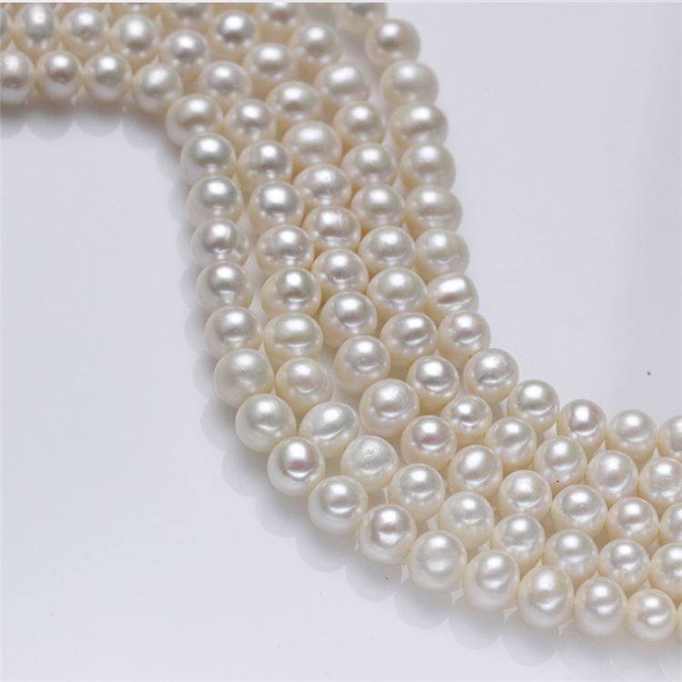 8-9mm AA Natural Freshwater off Round Pearl Strand