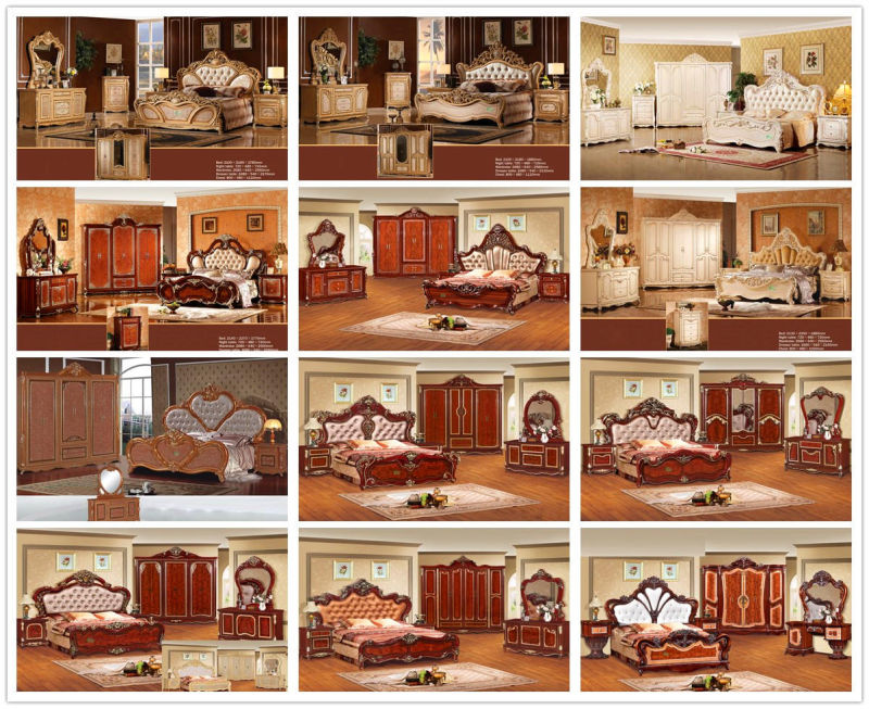 Antique Bed for Classical Bedroom Furniture Set (W805B)