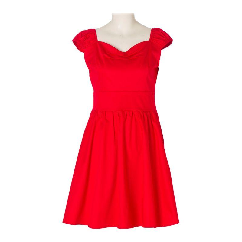Vintage Plain Suit Cotton Plus Size Red Cocktail Party Dress
