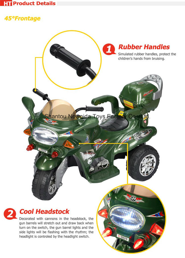 Top Selling Baby Children Ride on Motorcycle Electric Vehicle with Light