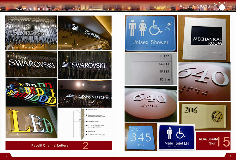 Toilet Washroom Lavatory Acrylic Illuminated Directory Guide Sign