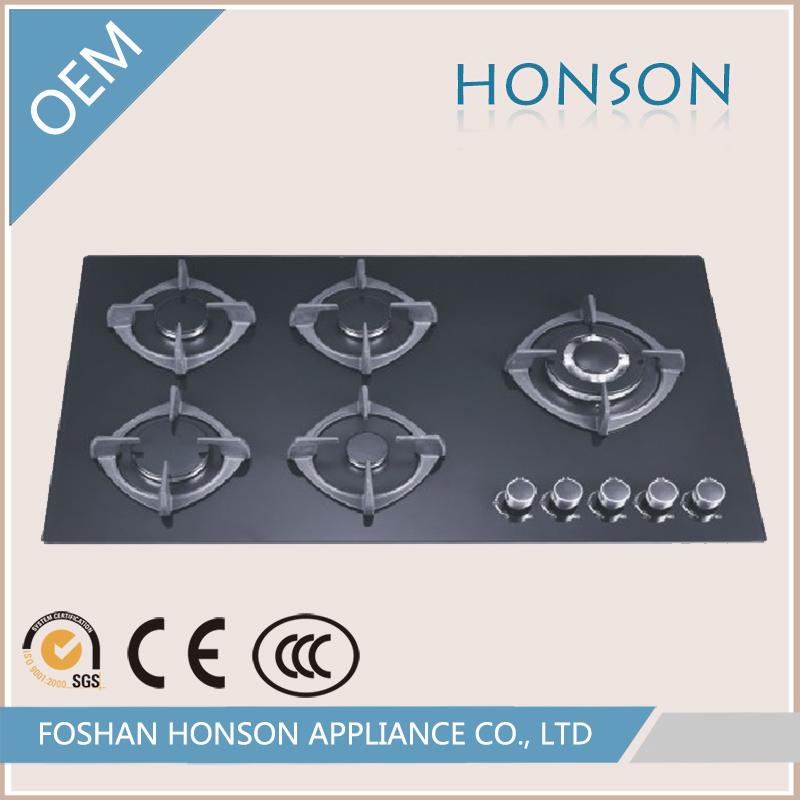 Wholesale Fashion High Quality Glass Top 5 Burner Kitchen Stove