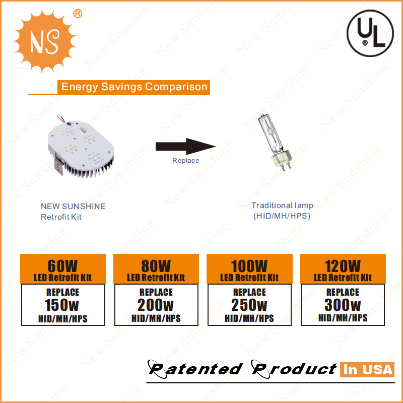 350W Parking Lot Lamp Replacement E26 E39 120W LED Retrofit Kits