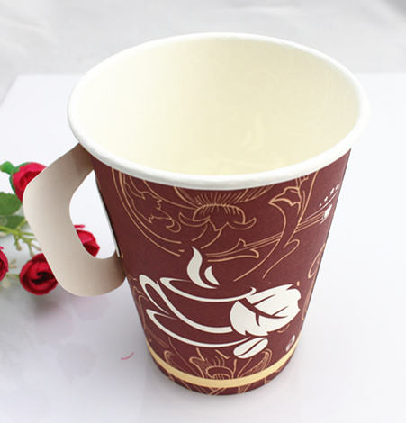 9oz Cheap Single Wall Paper Cup with Handle Made in China