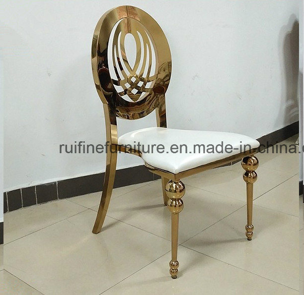 Foshan Gold Stainless Steel Round Moon Table Banquet Dining Chair for Wedding Event