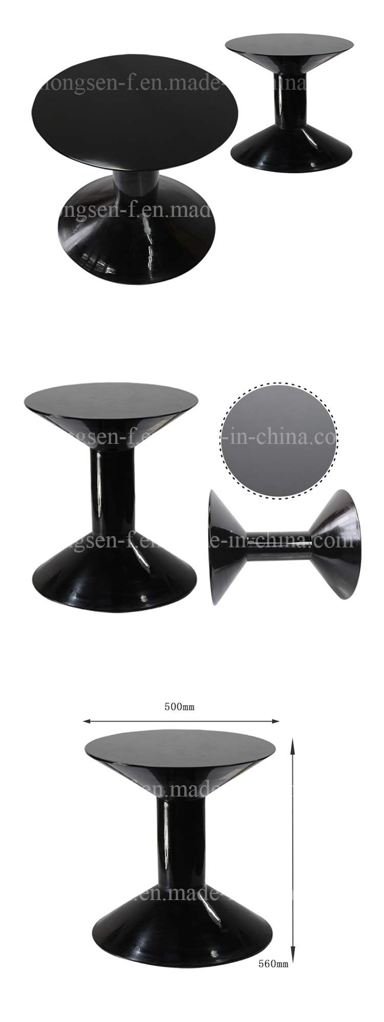 Modern Style Black Round Glass Coffee Table Design for Hotel