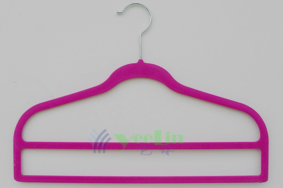 Flocked 2-Bar Pants Hanger, Anti-Slip Velvet Spacemaker Hanger