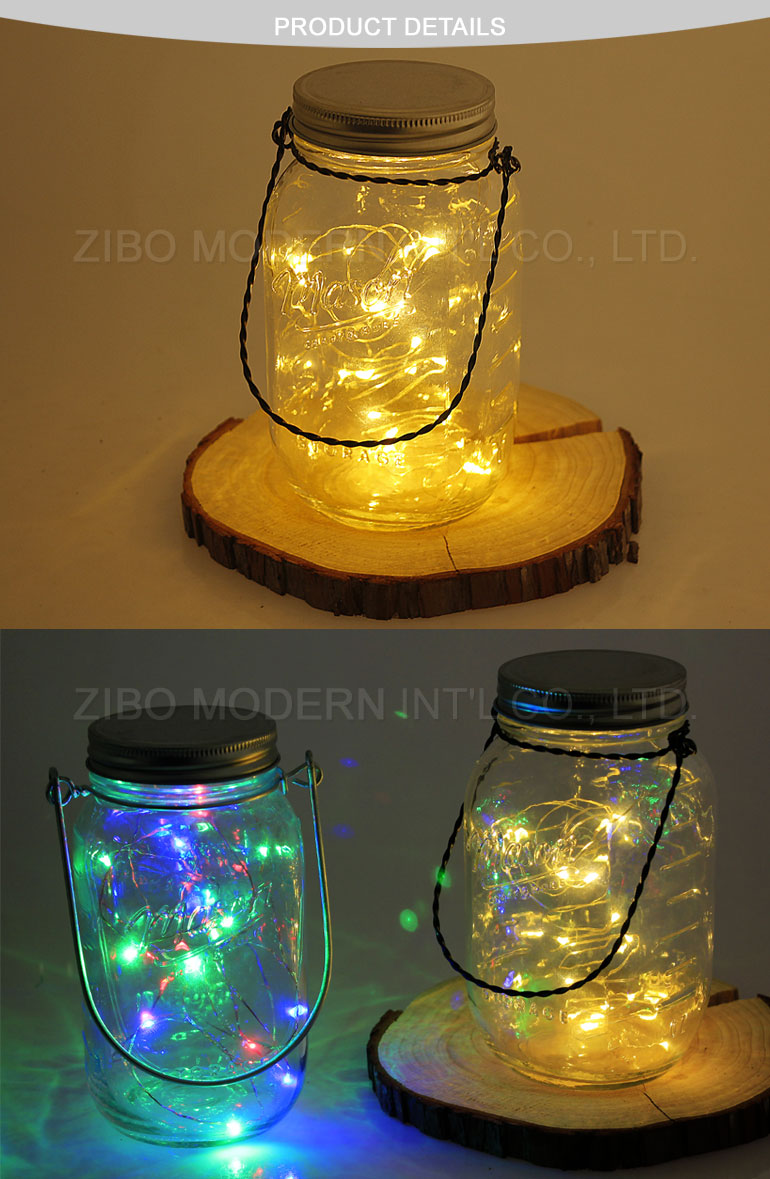 Hanging Storage Decoration Glass Mason Jar with LED Solar Light Metal Cover