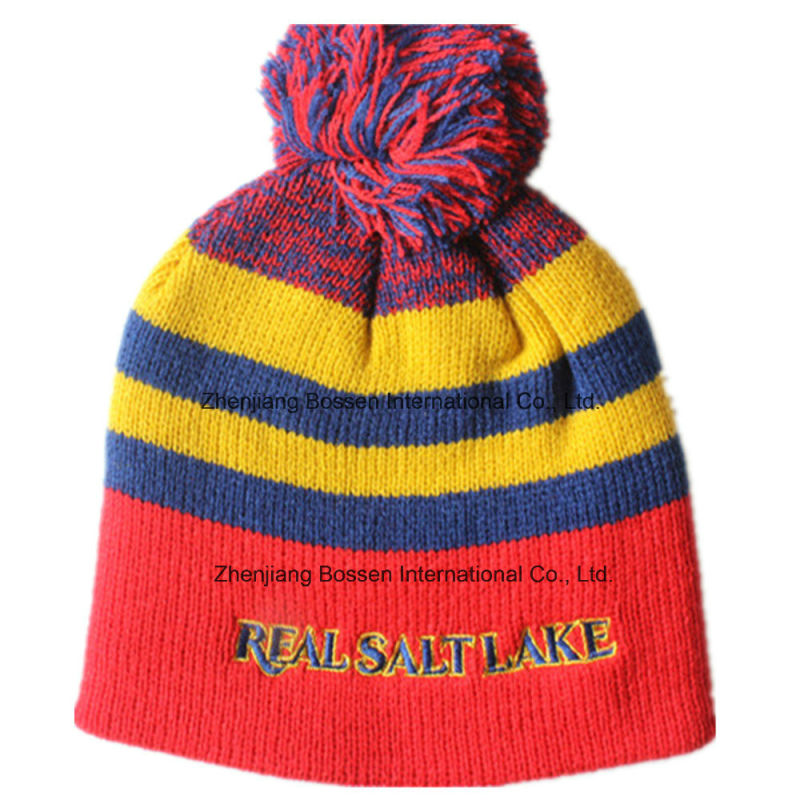 Customized Logo Embroidered Acrylic Wool Winter Ski Sports Warm Knitted Beanie Hat