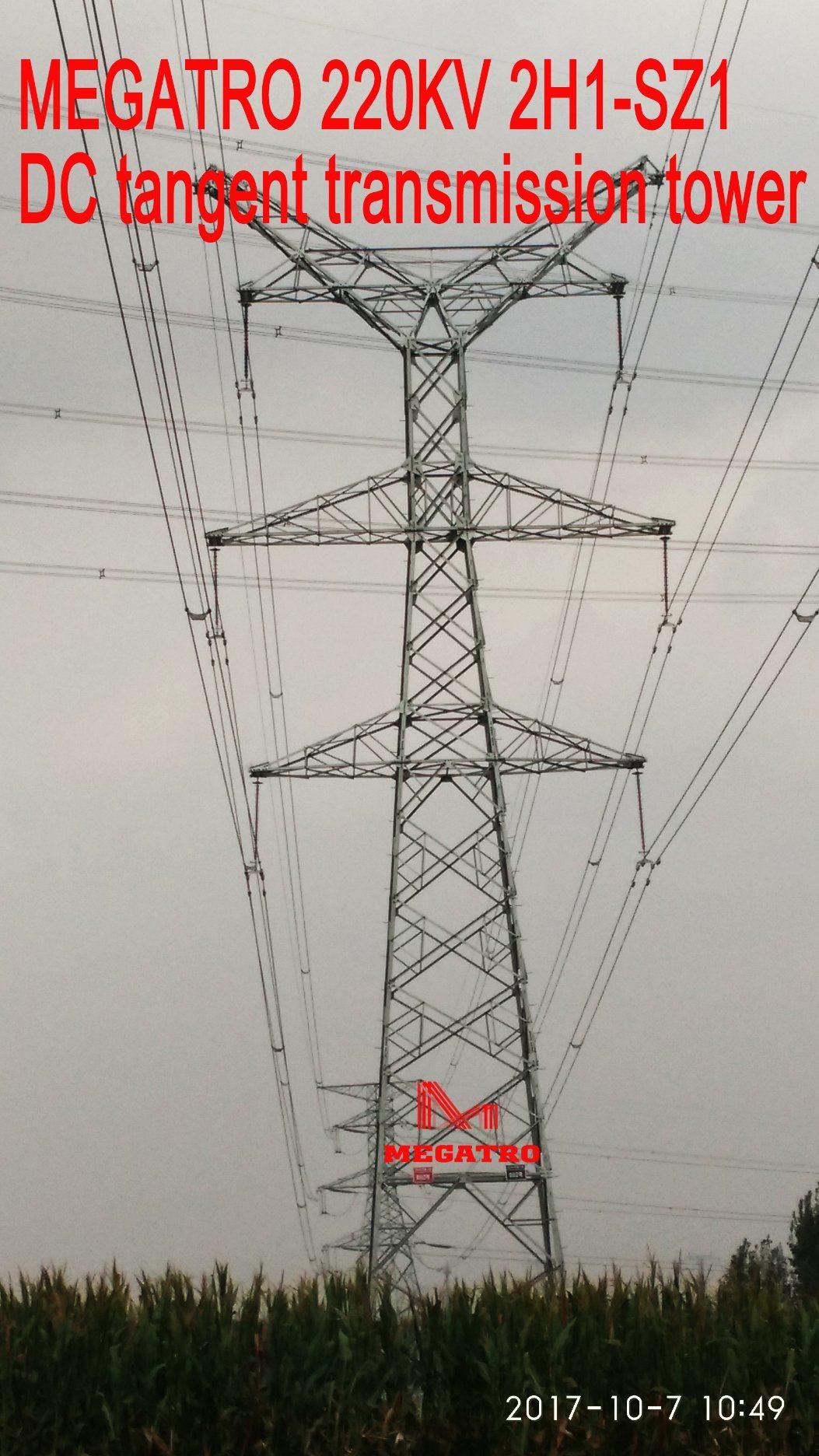 Megatro 220kv 2h1-Sz1 DC Tangent Transmission Tower