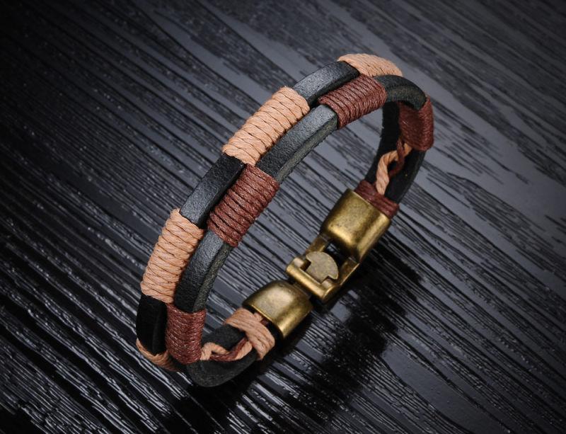 Jewelry Fashion Stainless Steel Bracelet Leather Bracelet (LB366)