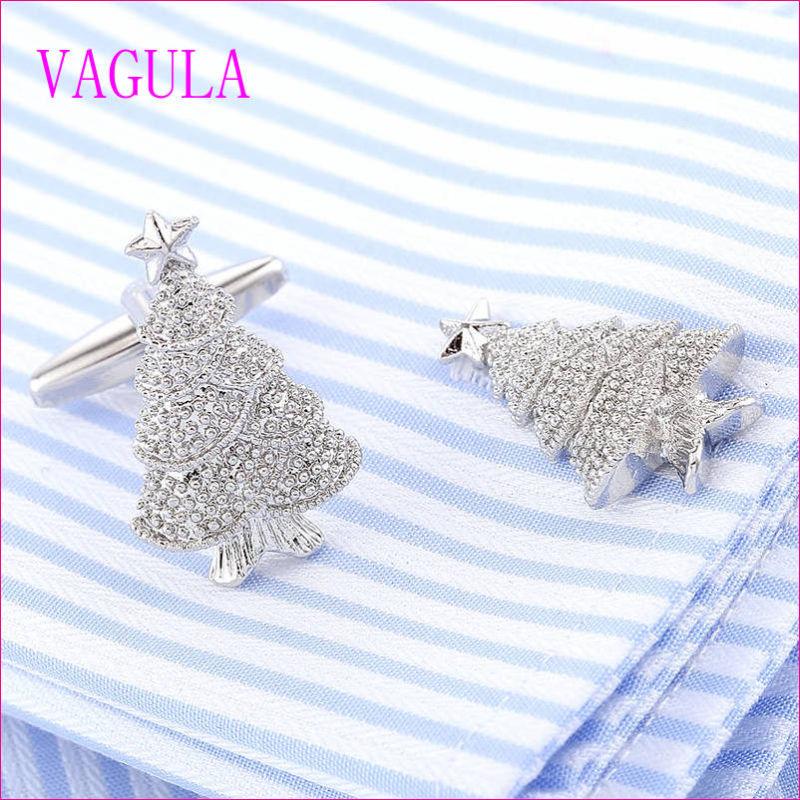 VAGULA Quality Hot Selling Christmas Tree Gemelos Cuff Links  (320)