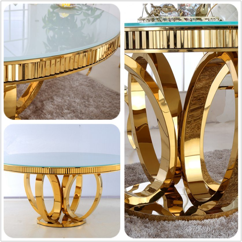 New Modern Diameter 1.3m Round and Gold Colour Glass Dining Table