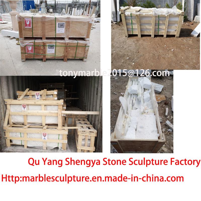 Beige Marble Column Stone Sculpture (SY-C024)
