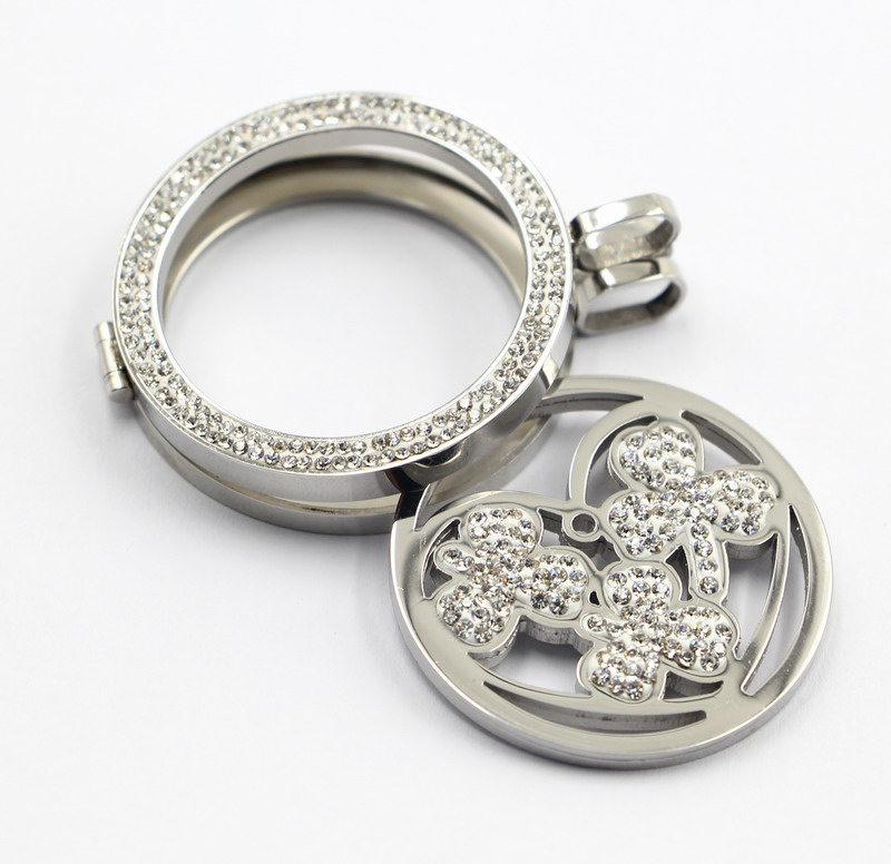 Hot Selling Fashion 316L Stainless Steel Locket Pendant Jewelry with Pave Stones