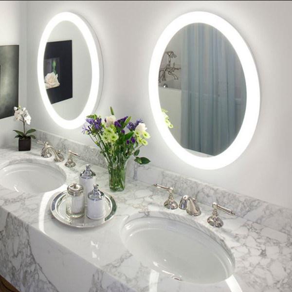 IP44 LED Round Vanity / Bathroom Mirror, Frosted Border