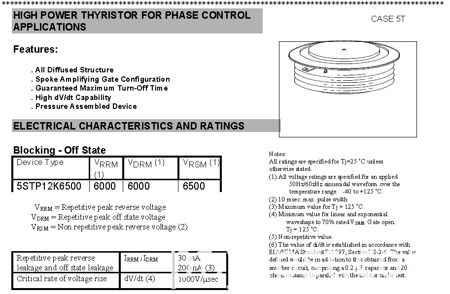 HIGH POWER THYRISTOR FOR PHASE CONTROL YZPST-5STP12K6500