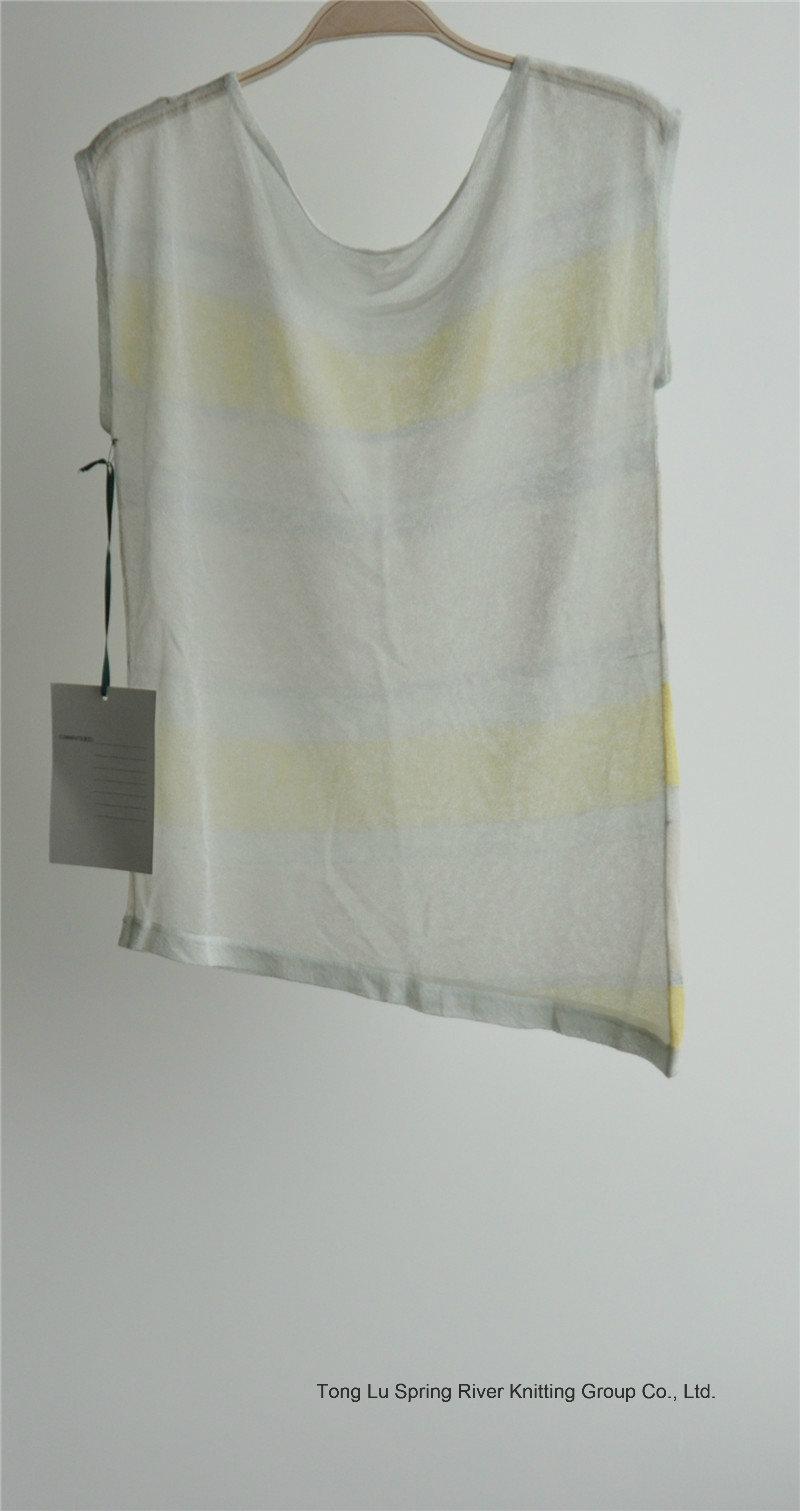 Ladies Fashion Patterned Striped Sleeveless Sweater