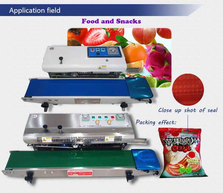 Electric Auto Impulse Bag Continous Sealing Machine with Printing for Glass Paper Nylon, BOPP Aluminum Foil Kraft Paper Plastic Film