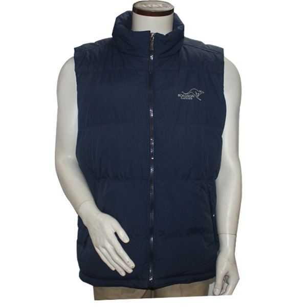 Unisex Stand Collar Zipper Polyester Solid Print Outer Winter Vest Jacket for Men