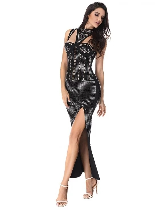 Beaded Embellished Cut out Slit Dress