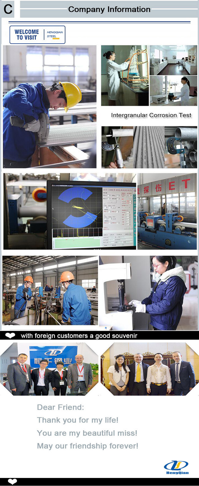 Round/Square SUS201 304 316 310S S31803 Stainless Steel Pipe for Decoration