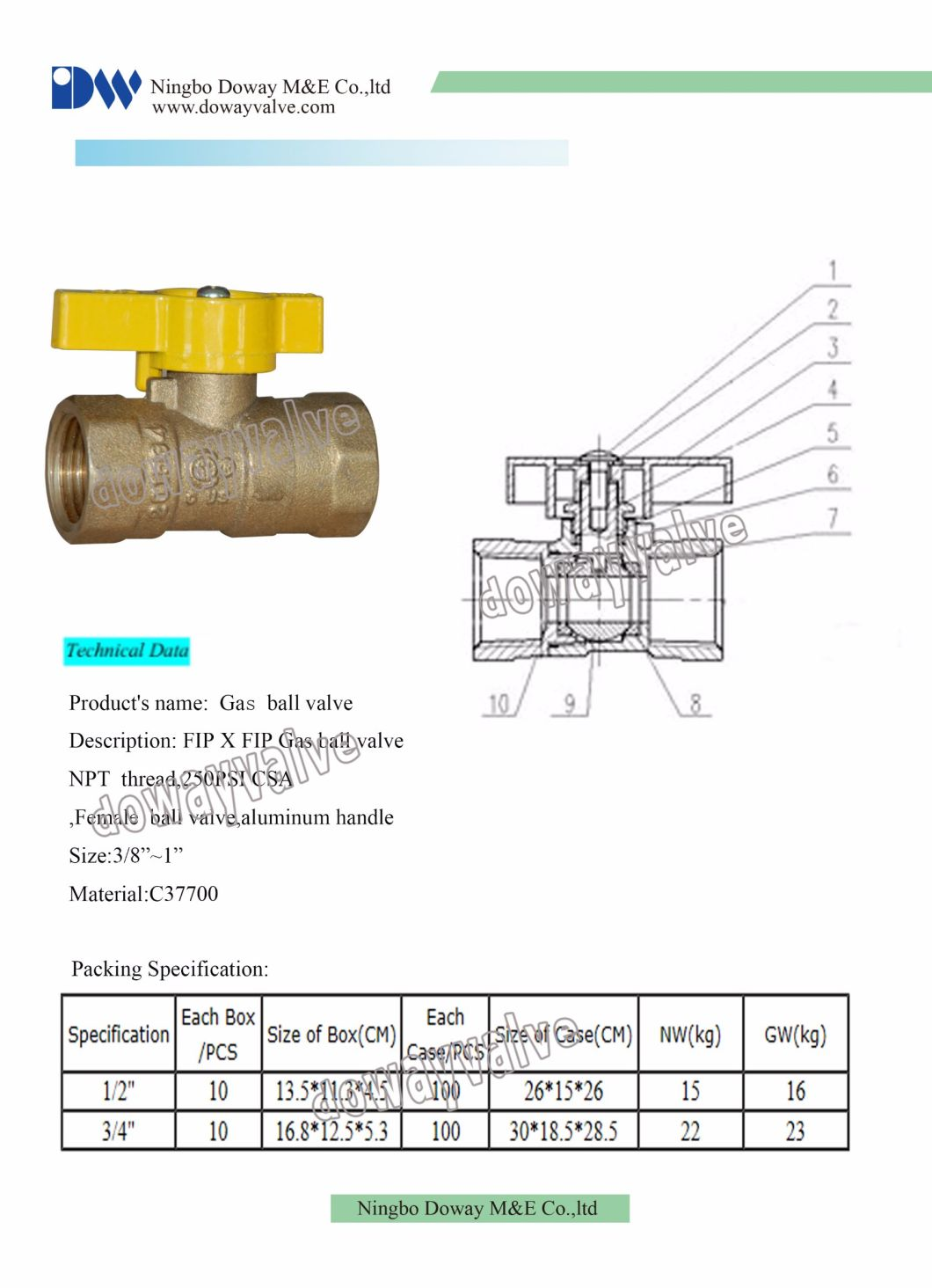 High Quality Forged Brass Gas Ball Valve with NPT Thead