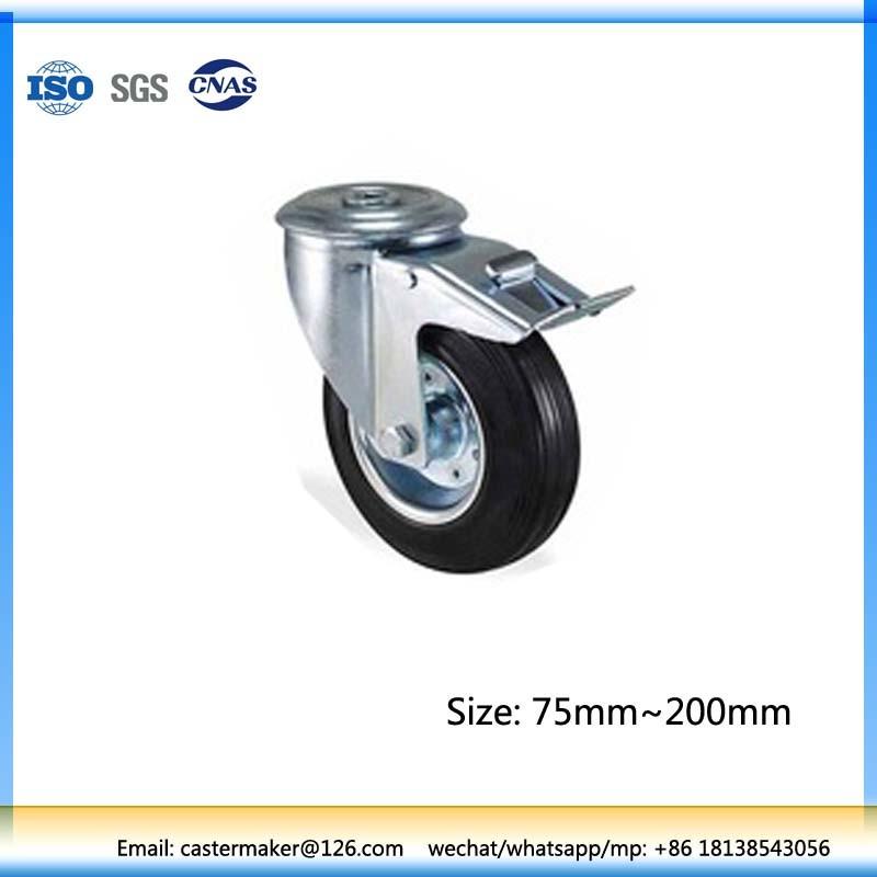 80mm Swivel Castor Wheel with Lock, Rubber Castor Wheel, Steel Core, Roller Bearing