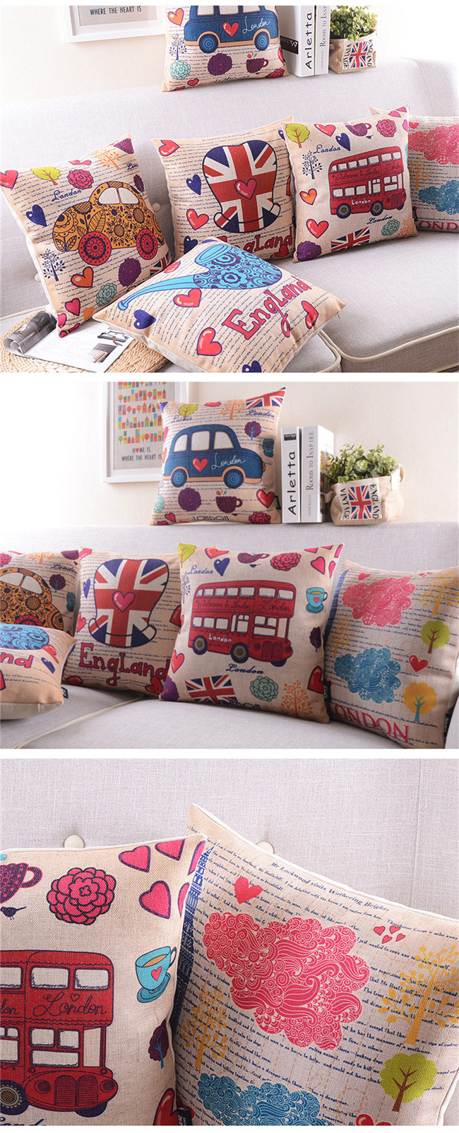 Yrf Cotton Linen Square Pastoral Style Flowers Colorful Throw Sofa Pillow