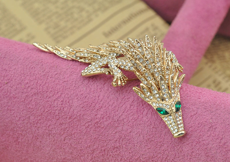 2016 New Style Gold Plated Rhinestone Pangolin Brooch