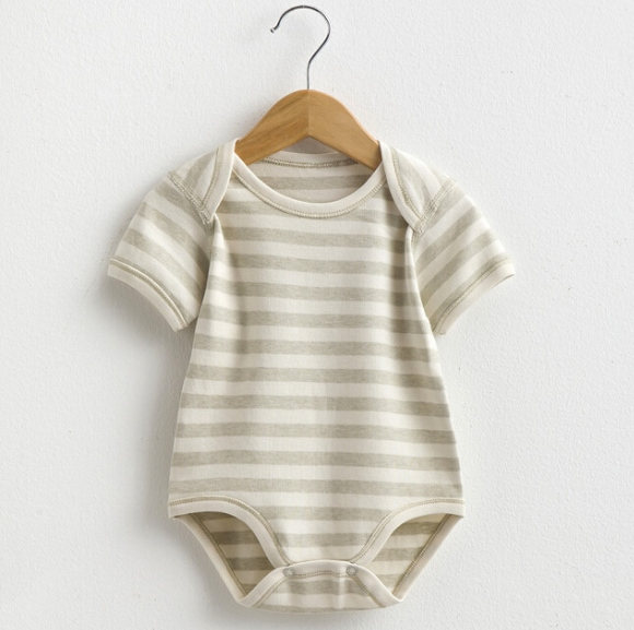 Summer Organic Cotton Baby Short Sleeve Striped Romper