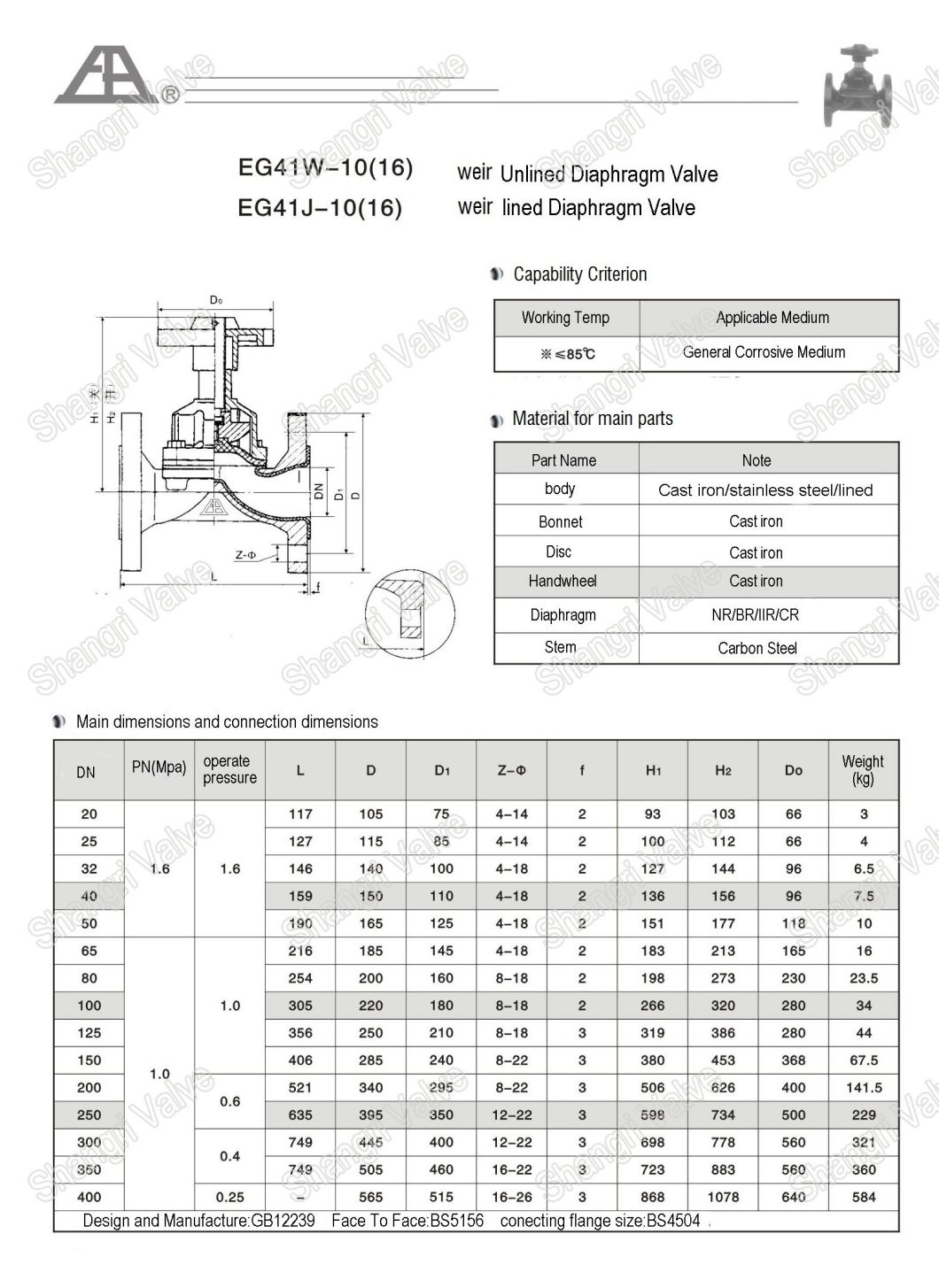 Saunders Cast Iron Manual Flanged Ends Rubber Lined Diaphragm Valve