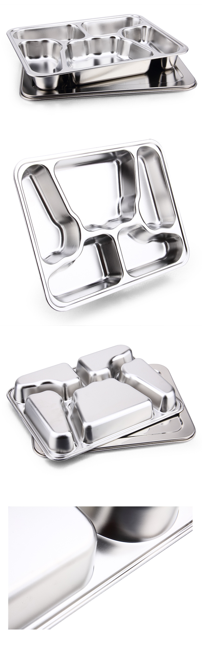 Butterfly Shape Stainless Steel Fast Food Tray & Lunchbox with Lid