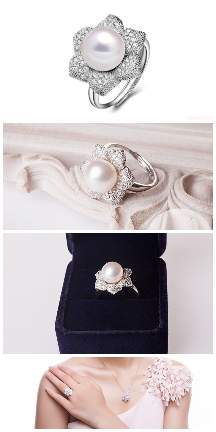 Pure Pearl Ring Pearl Ring Designs for Girls 9mm AAA Button Antique Pearl Rings